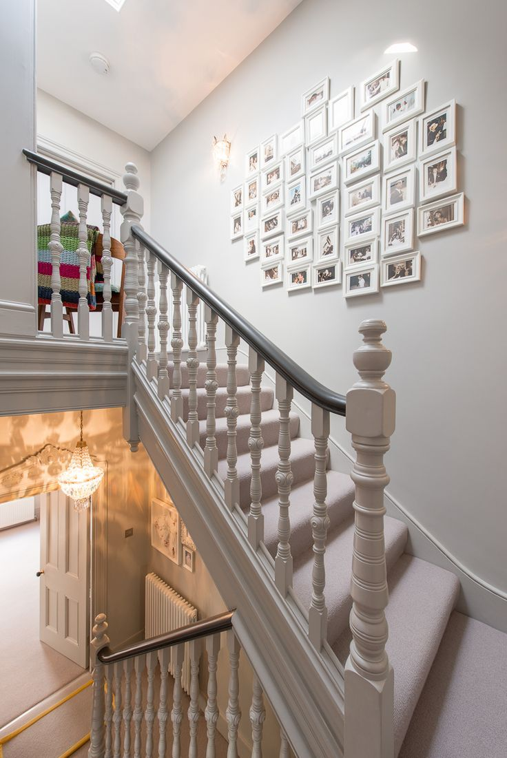 farrow and ball pavilion gray hallway spindle and handrail designs pinterest hallways. Black Bedroom Furniture Sets. Home Design Ideas