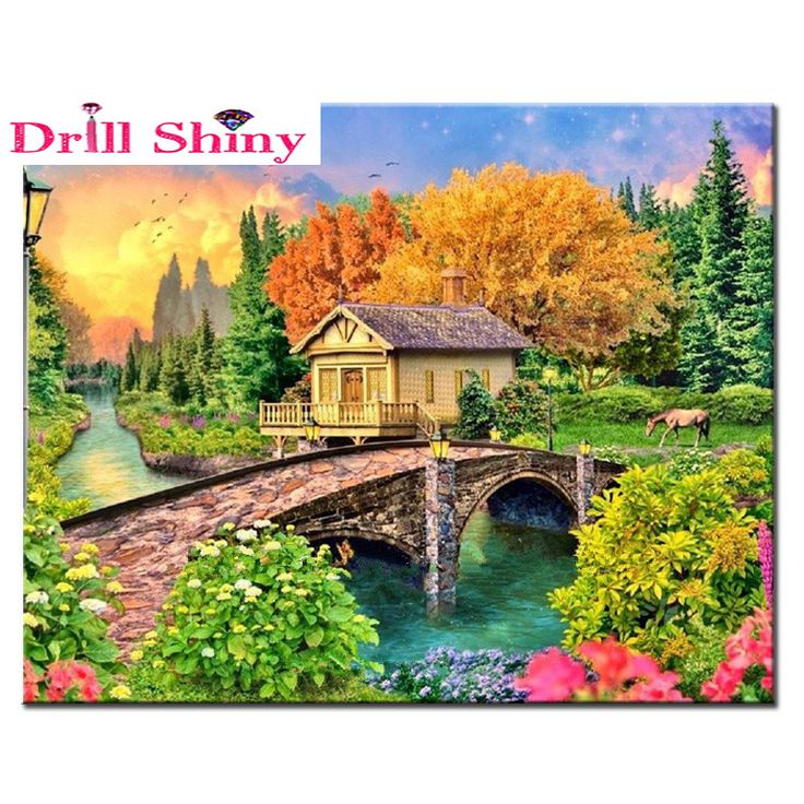 Autumn Scenery Painting Needlework Inlay Diy Diamond Painting Square Icon Diamond Resin 5D Diamond Embroidery Wall Sticker Decor #Affiliate