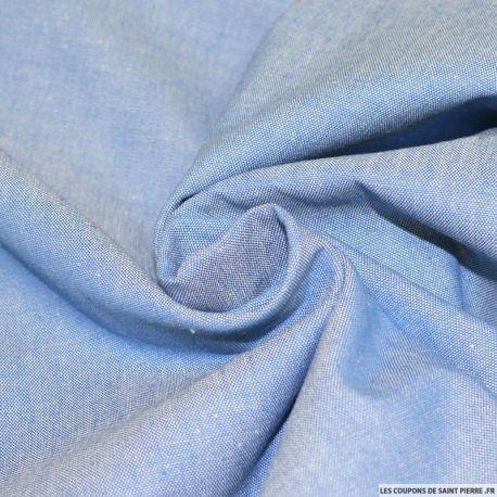 Tissu Jean's chambray coton bleu clair, poids chemises et robes ! Vendu en coupon de 3 mètres, ce tissu en jean's léger est idéal pour réaliser des vêtements légers !