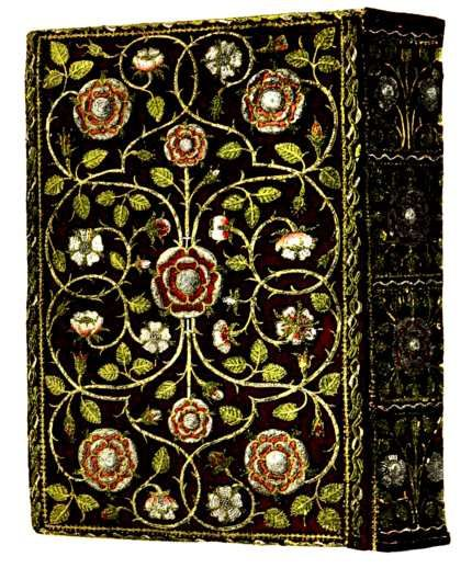 English embroidered book cover,1583