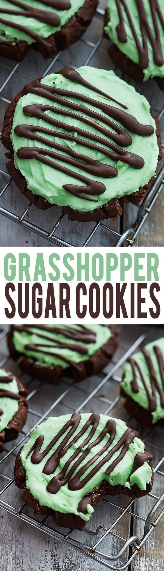 Grasshopper Sugar Cookies - moist chocolate sugar cookies with fluffy mint frosting, topped with Andes mint chocolate drizzle! | Creme de la Crumb: