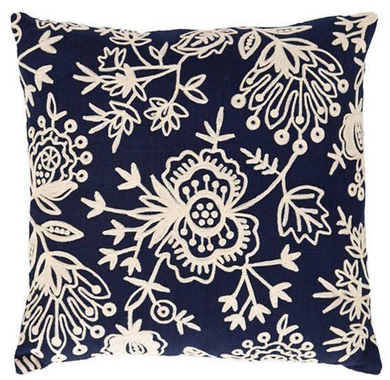 Flora Crewel Outdoor Throw Pillow