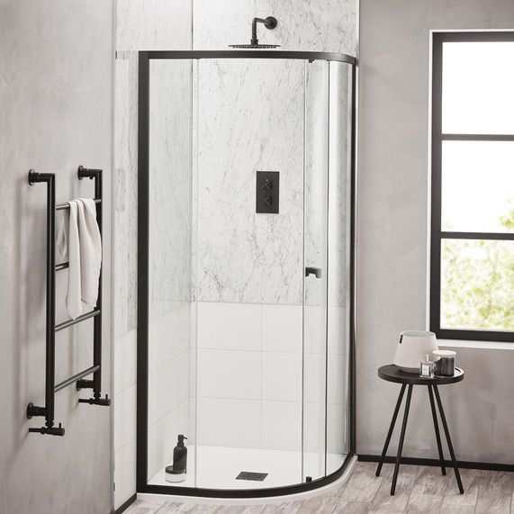 Noir 800mm Matt Black Quadrant Shower Enclosure Bathstore Quadrant Shower Enclosures Quadrant Shower Shower Enclosure