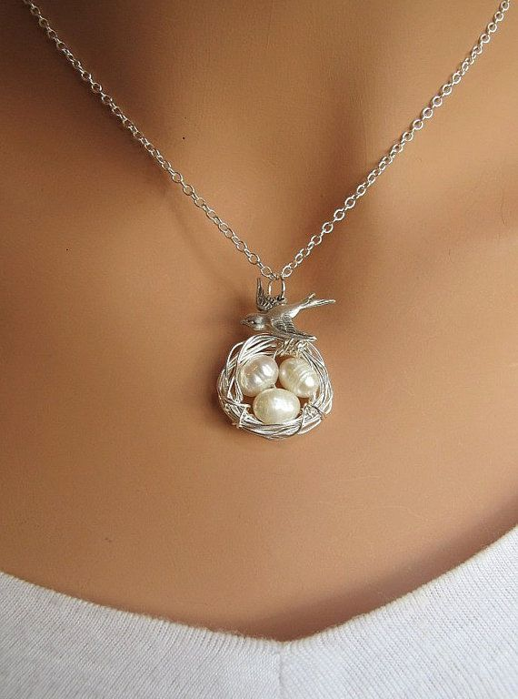 Bird and Nest with white Freshwater Pearls by RedEnvelopeGifts, $27.00...or make it yourself for much, much cheaper like I did!