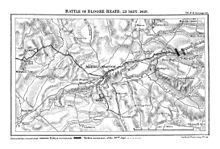 he Battle of Blore Heath was one of the first major battles in the English Wars of the Roses. It was fought on 23 September 1459, at Blore Heath in Staffordshire, two miles east of the town of Market Drayton in Shropshire, England.