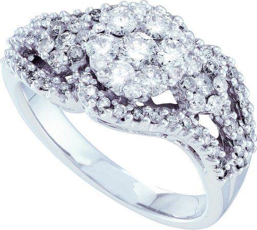 14KT White Gold 1.00CTW ROUND DIAMOND LADIES FASHION FLOWER BRIDAL RING: Rings