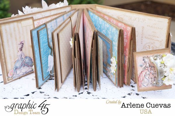See all the pages and learn how to make this beautiful mini album with a tutorial from Arlene #graphic45