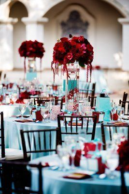Red Rose Centerpieces On Tiffany Blue Table Setting.Love These Colors  Together. Find This Pin And More On Marine Wedding Ideas ...