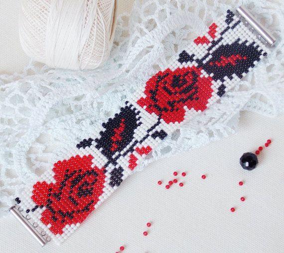 Bead loom inheemse armband Oekraïne stijl Gypsy armband rood roze bloem armband Boho stijl borduurwerk armband cadeau vrouwen etnische armband