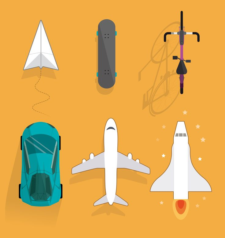 Flat vector skateboard, vehicles and planes.
