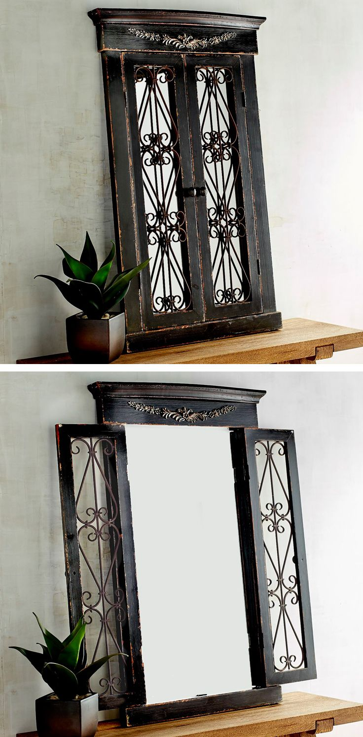 "Named after the French word meaning ""sea village,"" Pier 1's handcrafted Merville Ebony Window Mirror delivers coastal style to any wall in your chateau. Its rustic fir frame is carved in the style of European casement windows, with cast iron scrolls for added intrigue. A one-of-a-kind focal point for any wall."