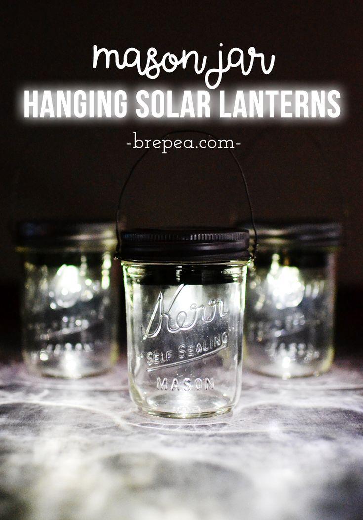 Make these Mason Jar Hanging Solar Lantern using just a few supplies: mason jars and solar lights!