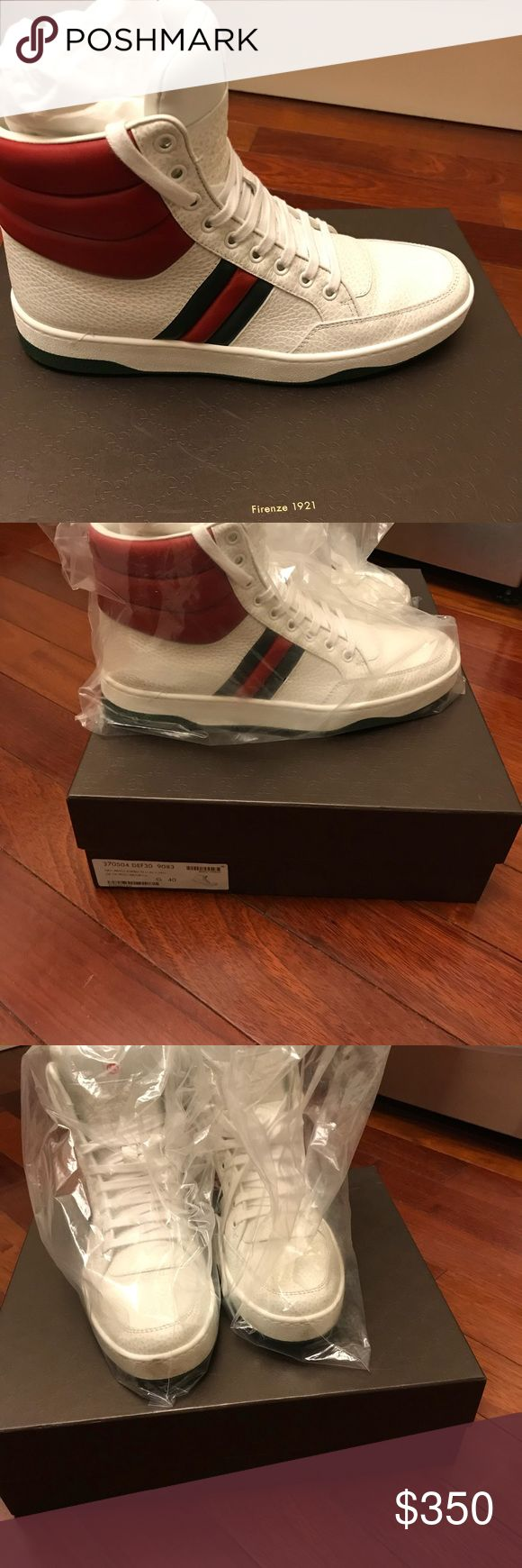 Authentic Gucci High top Sneakers Gucci high top sneakers. Almost like new!!! Barely worn sneakers. Excellent condition. Dust bag and extra shoe strings included. Gucci Shoes Sneakers