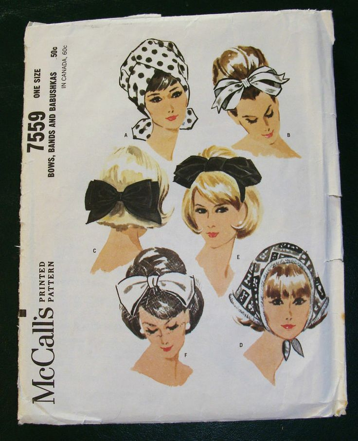 Vintage McCall's Bows Bands & Babushkas Sewing Pattern 7559 Complete