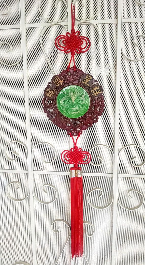 large chinese wall hanging jade colored dragon red lucky on wall hangings id=63138