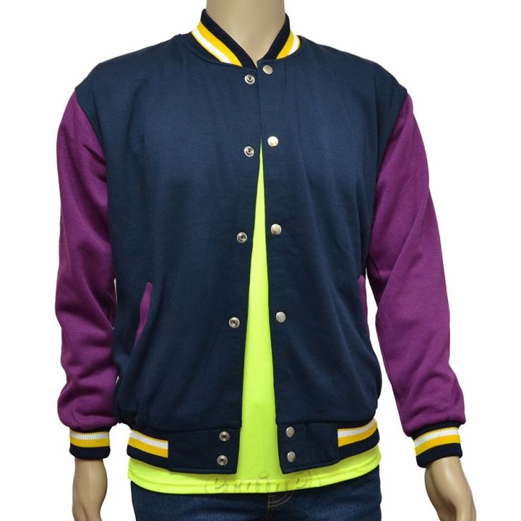 Varsity Jacket Navy Blue Purple