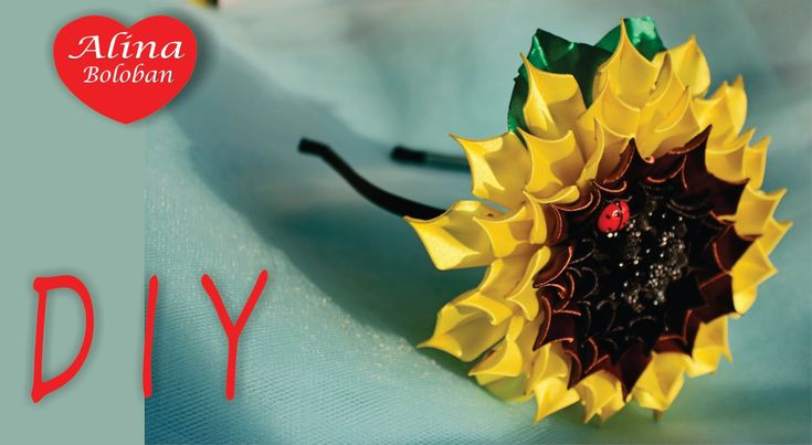 Подсолнух Канзаши . Уроки канзаши для Начинающих / How to Make: Sunflowe...