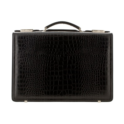 Croc-effect leather briefcase, in a variety of colors