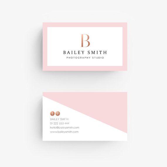 Premade visitekaartjes - Rose goud, Blush roze, Diagonal