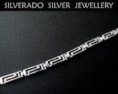 Sterling Silver 925 Ancient Greek Eternity Key Meander Pattern Fine Bracelet 19 cm