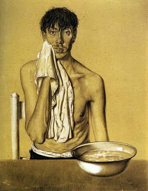 Dick Zelfportret met waskom (Self Portrait with Wash Basin) by Dick Ket (1930).