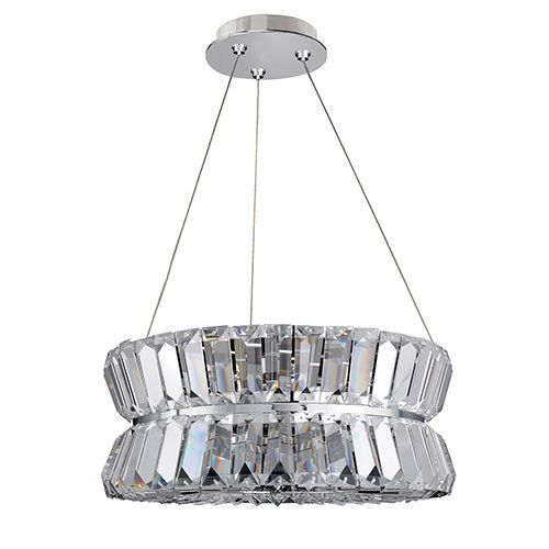 Allegri by kalco armanno chrome three light round drum pendant with firenze clear crystal mini pendant lightsdrum