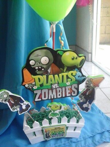 Centro de mesa plantas vs zombies..