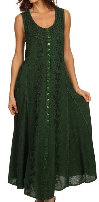 Sakkas 15221 - Maya Floral Embroidered Sleeveless Button Up Rayon Dress - Green - S/M