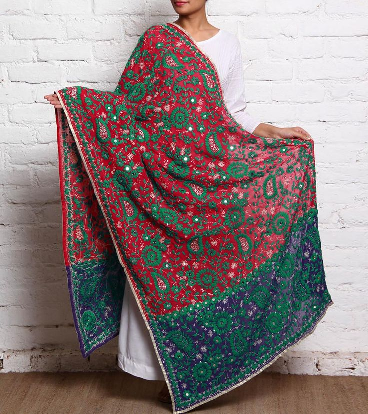 Blue pink designer karachi dupatta with heavy hand