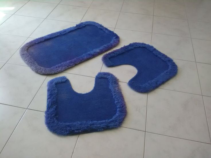 Vintage tris tappeti blu per il bagno / Tappetini per il bagno / Tappetini antiscivolo wc di VintaFai su Etsy