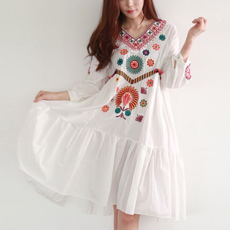 ==> [Free Shipping] Buy Best Bohemian embroidery maternity dress 2016 summer fashion cotton maternity dress women pregnancy clothes Online with LOWEST Price | 32810113455