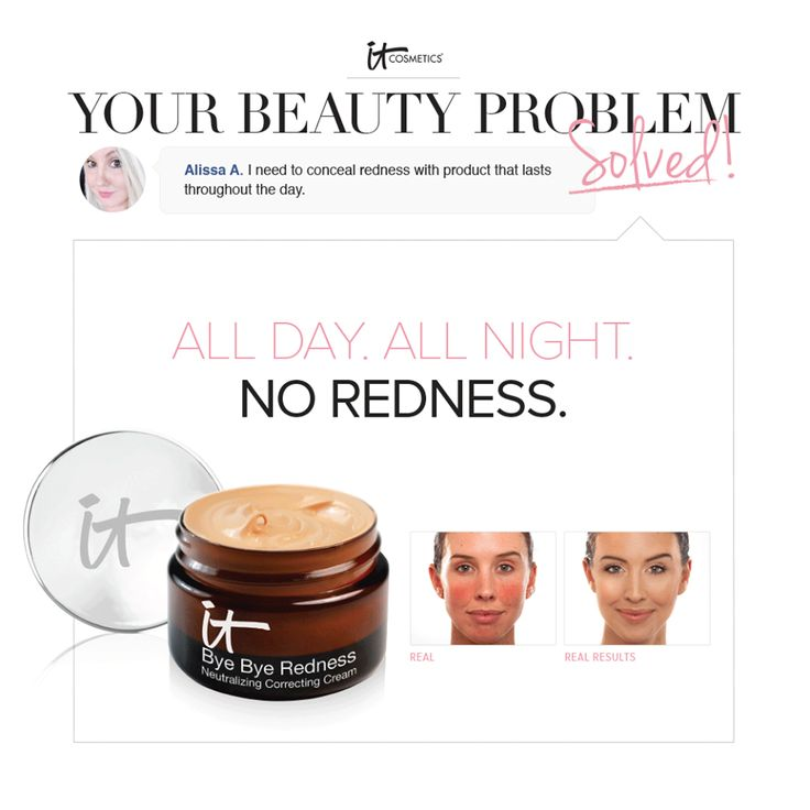 Redness...so many of us share that as our biggest skin issue! IT Girl Alissa asked for redness coverage all day long! Bye Bye Redness to the rescue!!! Red-cancelling pigments...Soothing ingredients like colloidal oatmeal, aloe, and avocado...One step for full redness coverage that will last all day and all night!