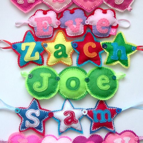 Personalised Name Banner Hearts Stars Cupcakes