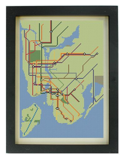 Custom NYC Subway Map Cross Stitch Pattern by TheIronStitch, £2.50