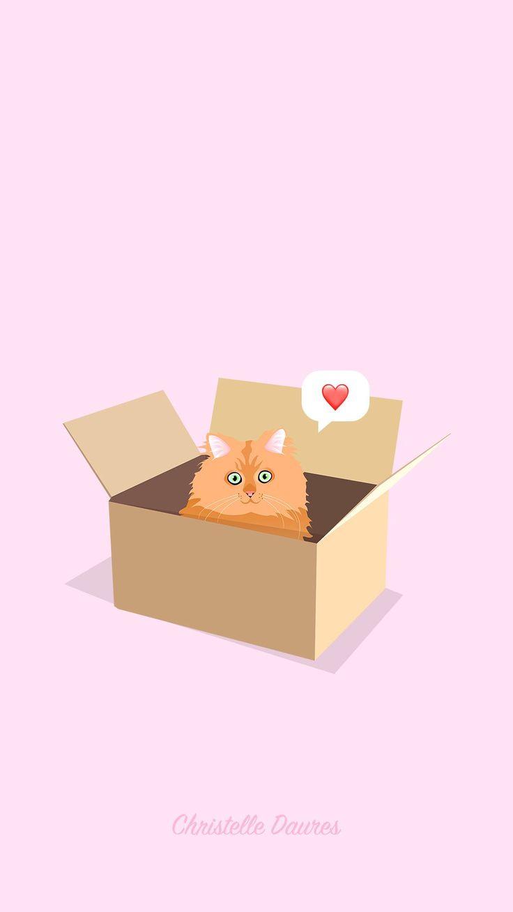cat chat fond d'écran wallpapper iphone ipad illustrations dessin art pastel vector cat and boxes #catart