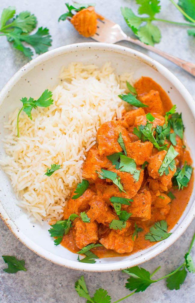 Crock-Pot® Pressure Cooker Chicken Tikka Masala - Make this Indian favorite at home in 30 minutes!! Juicy chicken is coated with an ultra FLAVORFUL creamy sauce! You don't need to go to a restaurant because this EASY recipe tastes BETTER!!