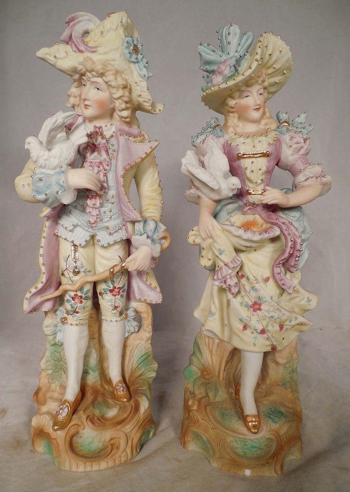 Pr Japanese Maruyama Bisque Porcelain Figures Man Woman ...