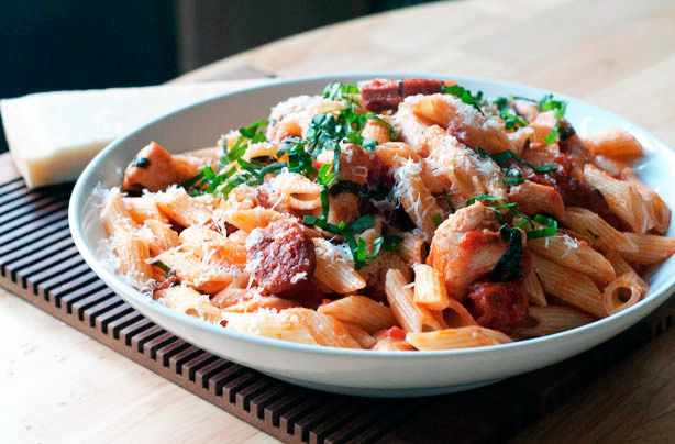 Chicken and chorizo pasta - Spanish inspired...add some olives or capers.