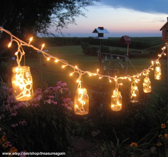 Create an outdoorsy look with string lights and old mason jars.