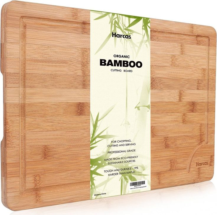 Large Chopping Board Made Of Solid Premium Organic Bamboo Extra Drip Groove New