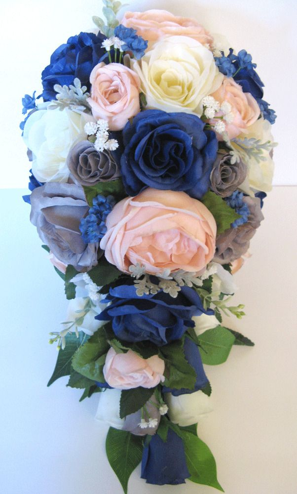 17 piece package Wedding Bouquets Bridal Silk Flower Light PINK Navy Blue SILVER