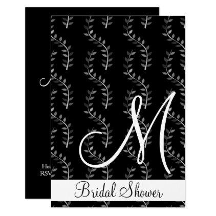 #monogram - #Simple Black Floral Monogram Bridal Shower Card