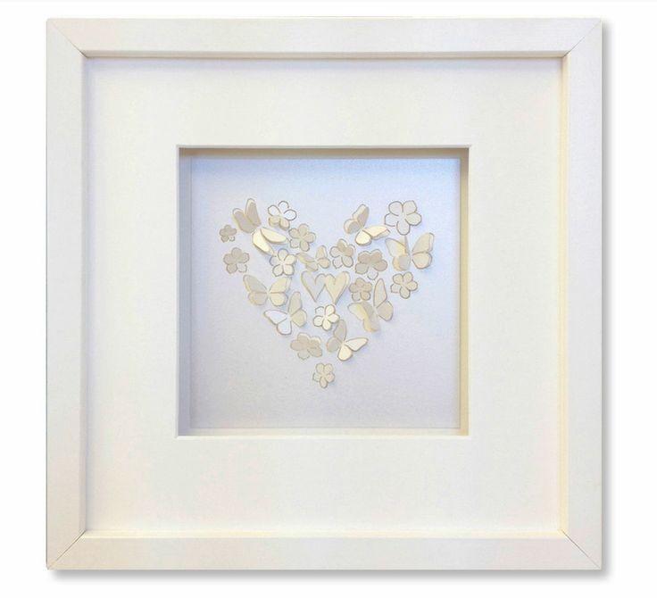 "10x10""/ 25x25cm White Pearl laser cut 3D Butterfly picture framed wall art III"