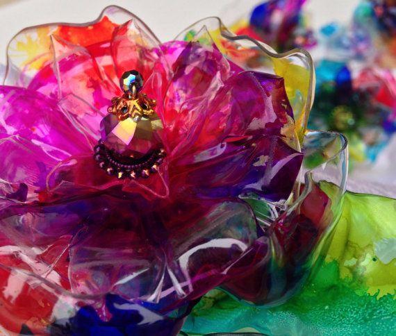 Rainbow Napkin Ring Set, Rainbow Art, Abstract Art, Colorful Home Decor, Rainbow Wedding, Flower, Recycled Plastic Bottle Art, Unique