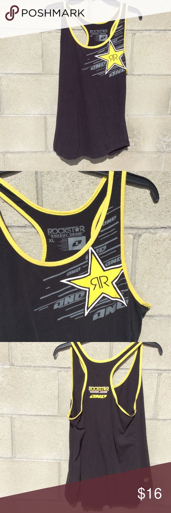 Rockstar energy drink tank top Black sleeveless racerback tank top shirt to with yellow outline with rockstar energy drink brand logo. Rockstar Energy Drink Tops Tank Tops