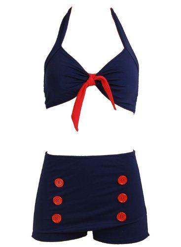 Navy Blue Retro Pin up Rockabilly Sailor Nautical Women's Bathing Suit Swimsuit Swimwear Bikini - Small PinupClothingOnline http://www.amazon.com/dp/B00CLD13T6/ref=cm_sw_r_pi_dp_fx0Rtb1N6NAXW87H
