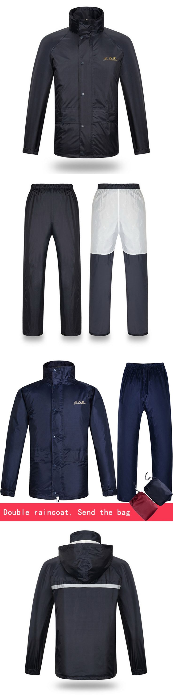 Double layer waterproof jacket+pants Men's suit Windbreaker Single thicken Jackets loose raincoat outfits 1.4kg
