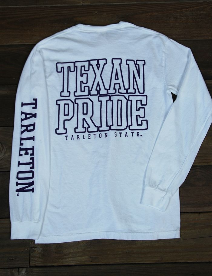 Enjoy this classic Tarleton State Comfort Colors long sleeved t-shirt all fall and winter. It is perfect for game day or hanging out around campus. Go Texans!