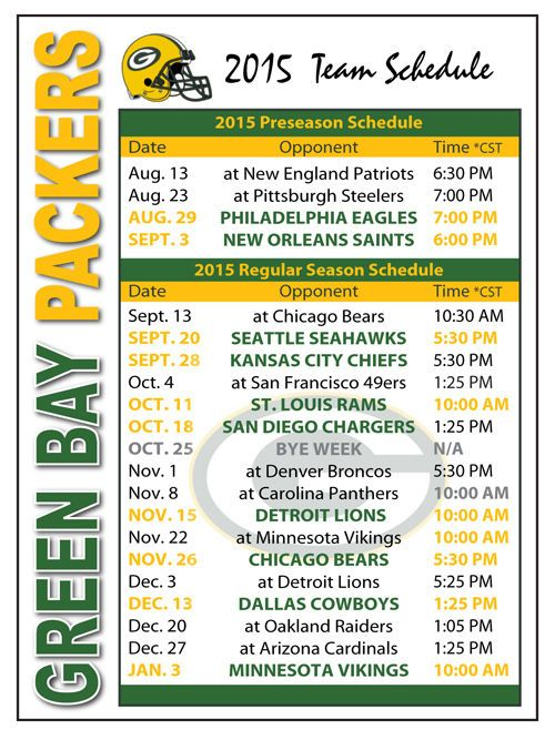 2015 Green Bay Packers Football Schedule Magnet #Magnet