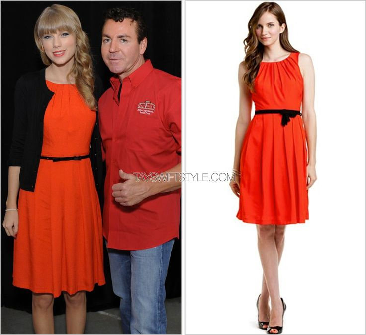 Taylor Swift Worldwide Radio Remote | October 26, 2012 Thanks Meg! Eva Franco 'Liberty Tangerine Sleeveless Dress' - no longer available To promote her then-newly released album RED, Taylor hosted a mass radio interview event. She wore a ladylike...